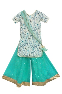 Off-white printed kurta with blue sharara pants & dupatta