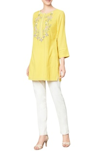 Yellow cotton georgette top