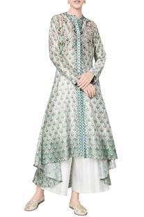 Sage green chanderi silk printed tunic
