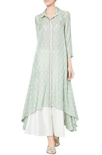 Sage green modal silk printed tunic