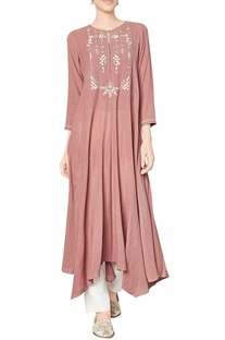 Marsala cotton georgette tunic with floral motifs