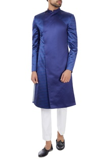 Navy blue poly-satin angrakha sherwani