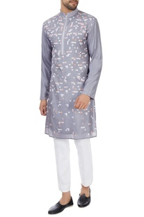 Grey geometric printed long silk kurta