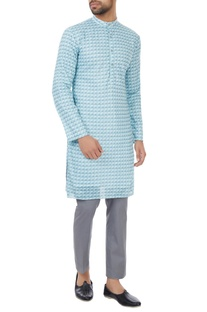 Mint blue poly-mesh kurta