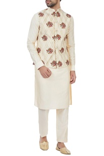 Beige floral embroidered nehru jacket