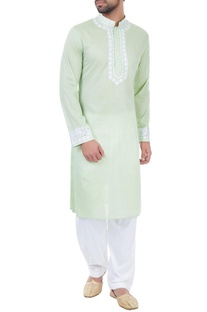 Light green mirror work embroidered kurta