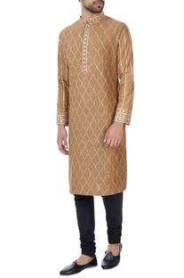 Beige gota hand-embroidered kurta