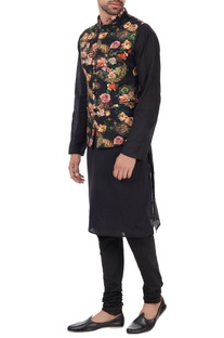 Multicolored floral nehru jacket