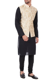 Ivory poly-silk multi-design nehru jacket