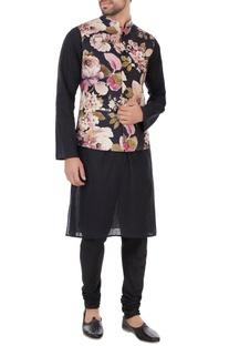 Black & pink floral printed nehru jacket