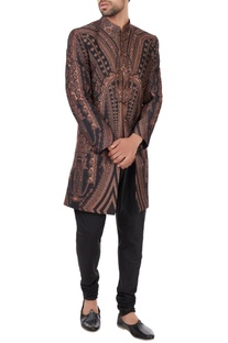 Black & peach poly-silk sherwani
