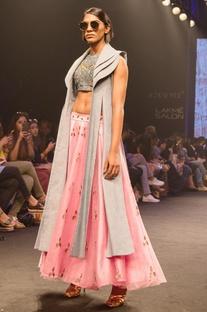 Pink net & raw silk flared skirt