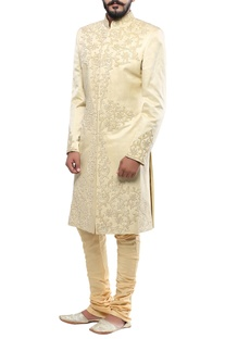 Cream linen silk applique handwork sherwani with churidar