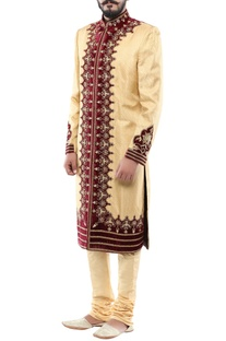 Gold brocade & velvet patchwork sherwani with churidar