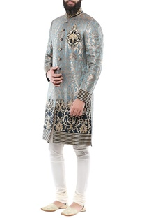 Teal blue brocade hand embroidery sherwani with churidar