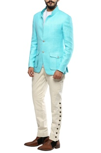 Light blue matka silk convertible collar jacket