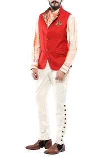 Red matka silk nehru jacket