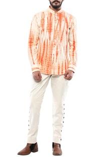 Orange linen streax shirt