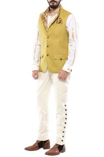 Olive green linen convertible collar nehru jacket