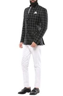 Black linen chequered jodhpuri jacket