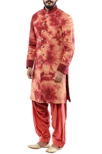 Maroon linen quilting detail achkan with churidar