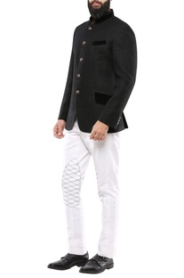 Black matka silk jodhpuri jacket with velvet detailing