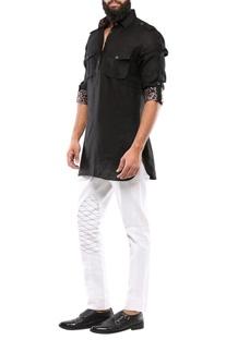 Black linen short pathani kurta
