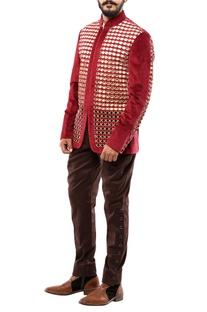 Maroon & beige velvet cording jodhpuri jacket