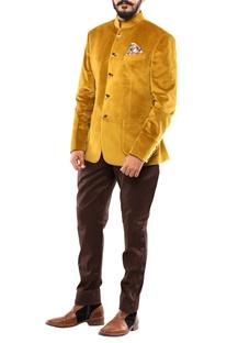 Mustard yellow velvet jodhpuri jacket