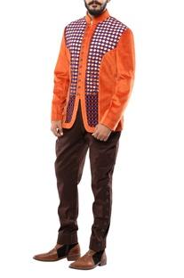 Orange & blue velvet cording jodhpuri jacket