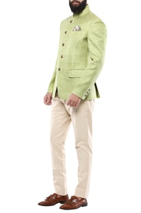 Lime green matka silk jodhpuri jacket