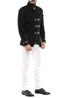 Black moleskin buckle design jacket
