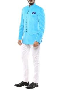 Turquoise blue velvet jodhpuri jacket