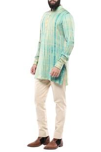 Teal green silk tie-dye kurta