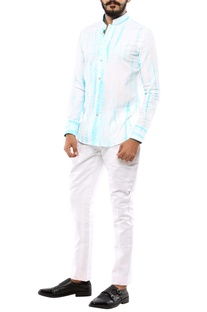 Blue & white tie-dye printed shirt