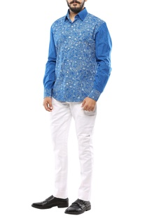 Blue cotton floral printed shirt