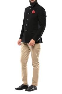 Black brush cotton jodhpuri jacket with rivets