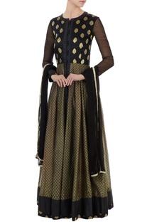 Black brocade silk & block printed anarkali set