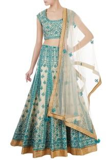 Blue & gold brocade thread embroidered lehenga set