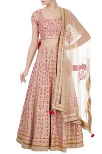 Beige & pink gota embroidered raw silk lehenga set
