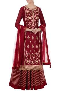 Maroon gota embroidered kurta & lehenga set