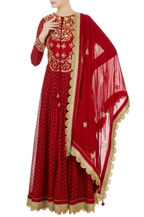Maroon georgette silk dori embroidered anarkali set