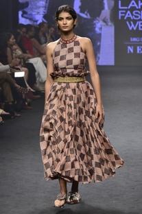 Pink & black chanderi silk printed halter neck top with skirt