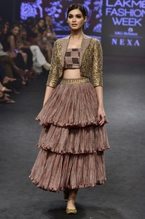 Pink & gold chanderi silk printed jacket & tiered skirt with bustier
