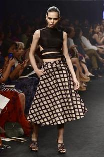Black & beige modal silk printed tie-around top with midi skirt