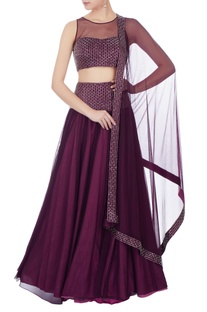 Wine crepe silk hand embroidered lehenga set