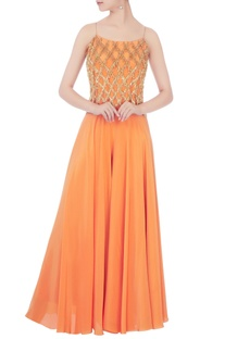 Orange crepe silk tassel crop top with palazzos