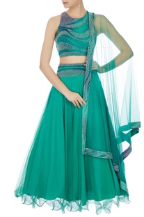 Emerald green wave embroidered lehenga set
