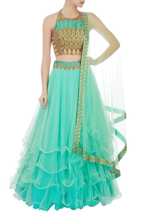 Mint green chevron embroidered net lehenga set