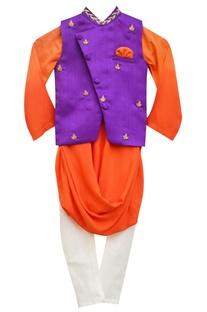 Orange kurta & white churidar with purple embroidered nehru jacket